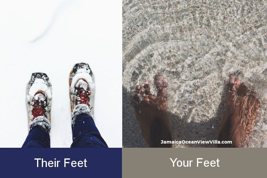 sandy feet are better than snow-covered feet