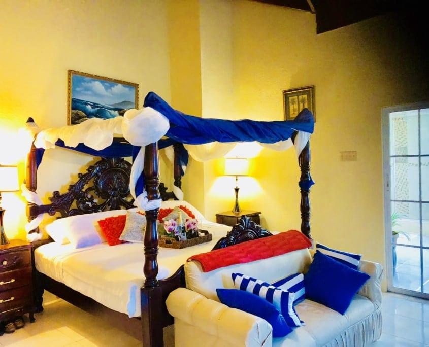 Master bedroom setting at Villa Serenity