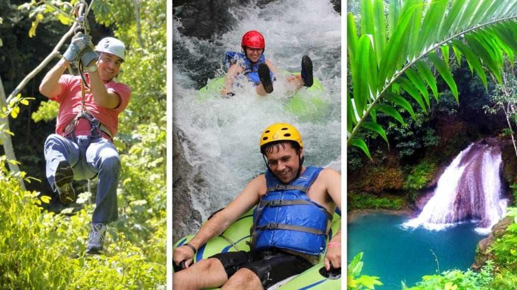 zip ling, tubing, blue hole adventure in Jamaica