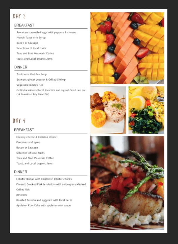 Jamaica villa all inclusive menu